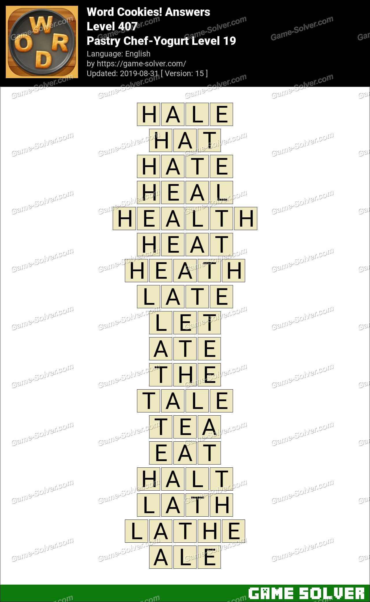 Word Cookies Pastry Chef-Yogurt Level 19 Answers