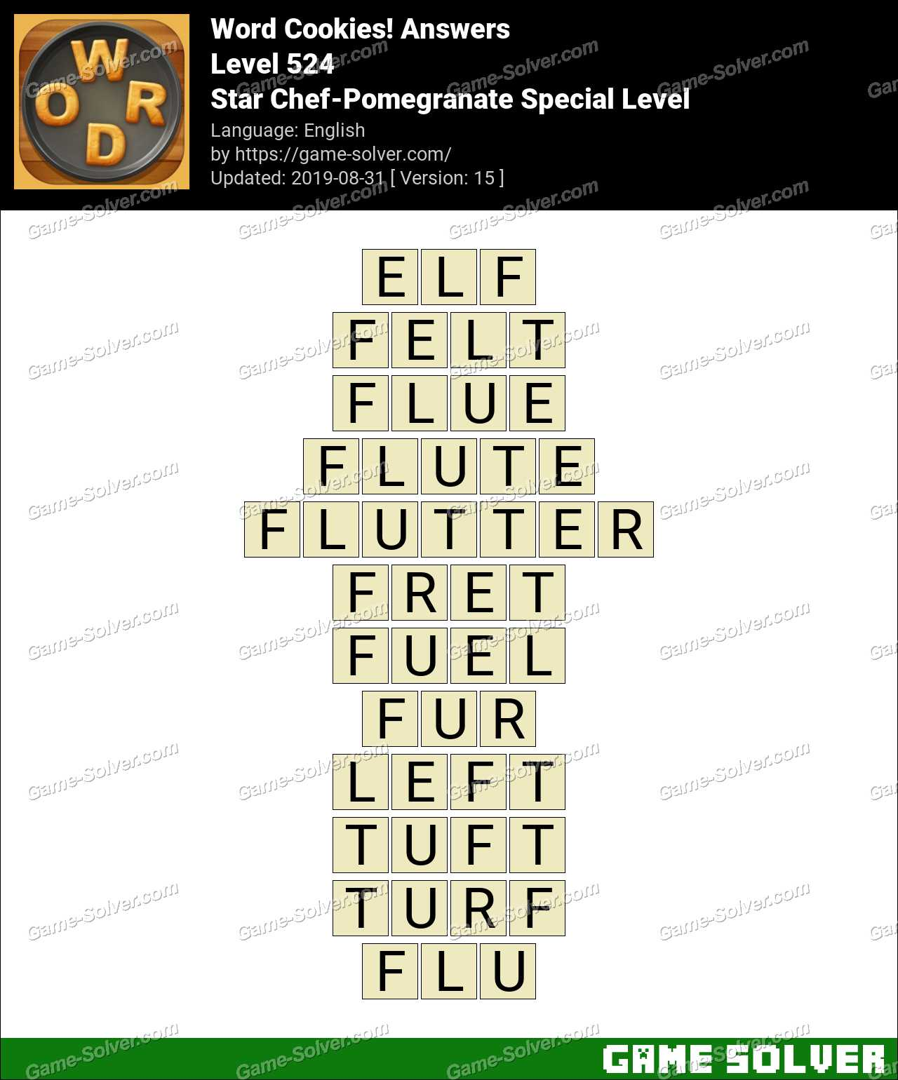 Word Cookies Star Chef-Pomegranate Special Level Answers