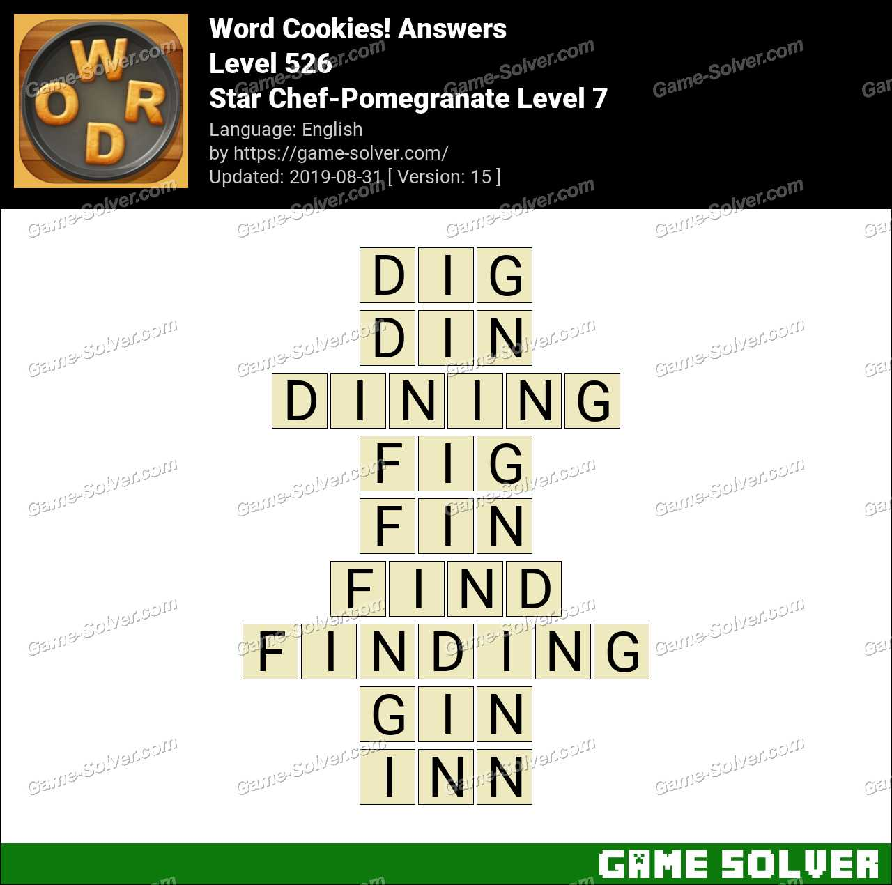 Word Cookies Star Chef-Pomegranate Level 7 Answers