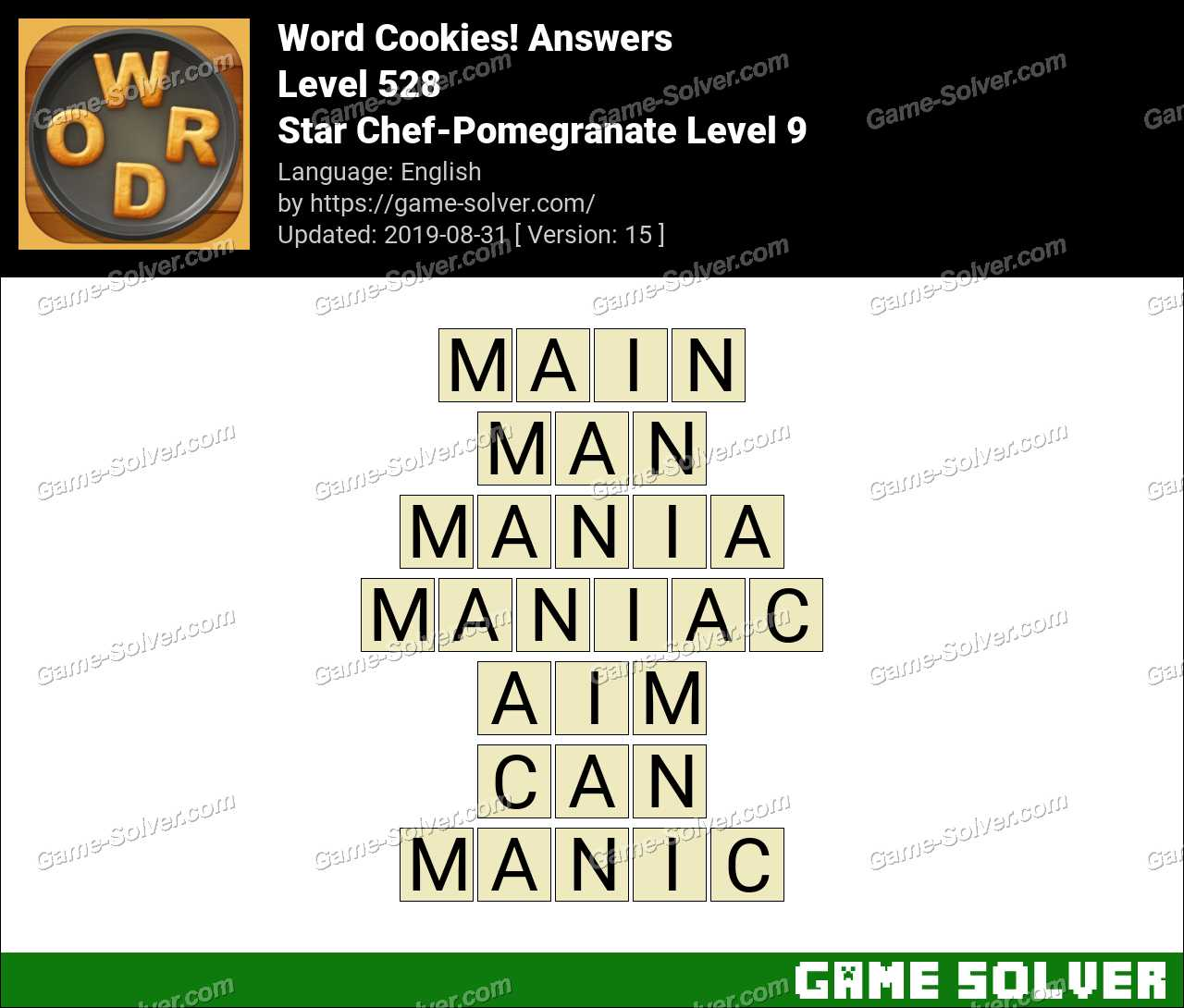 Word Cookies Star Chef-Pomegranate Level 9 Answers