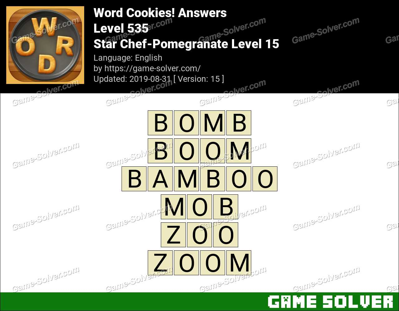 Word Cookies Star Chef-Pomegranate Level 15 Answers