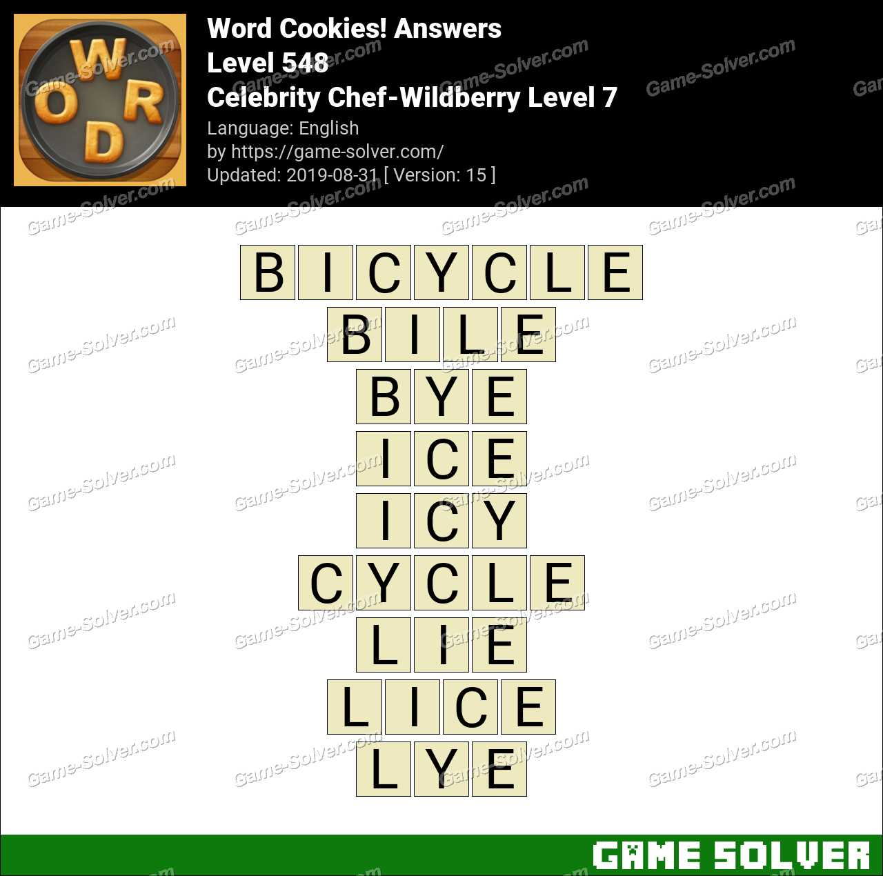 Word Cookies Celebrity Chef-Wildberry Level 7 Answers