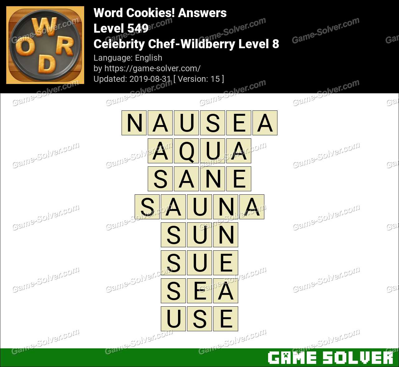 Word Cookies Celebrity Chef-Wildberry Level 8 Answers