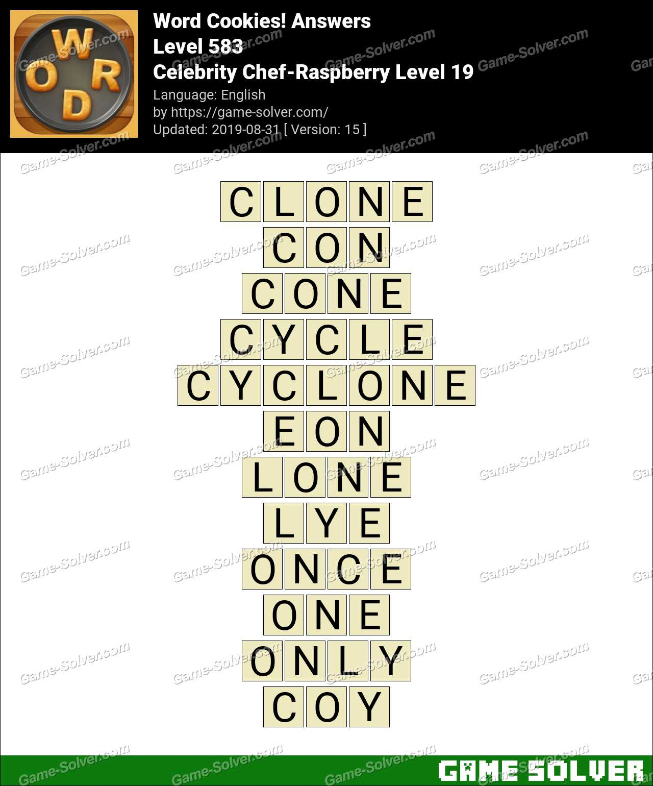 Word Cookies Celebrity Chef-Raspberry Level 19 Answers