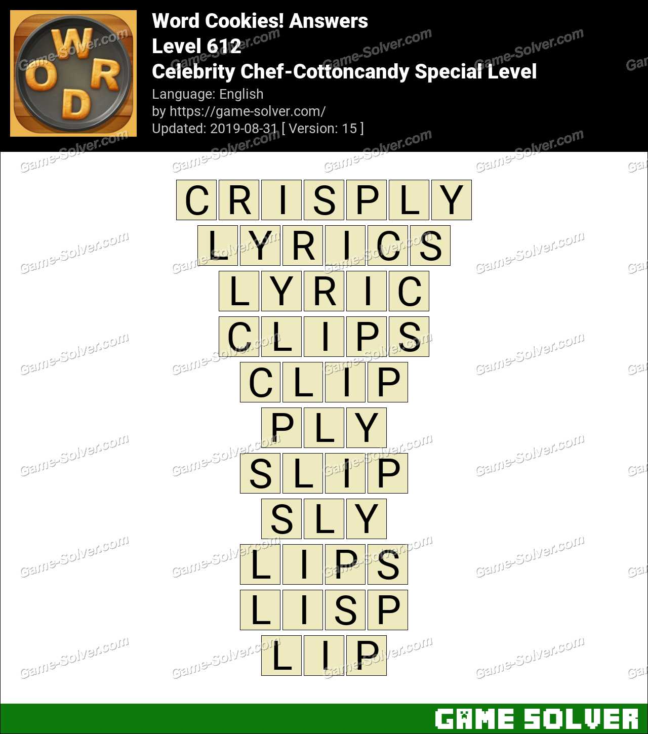 Word Cookies Celebrity Chef-Cottoncandy Special Level Answers