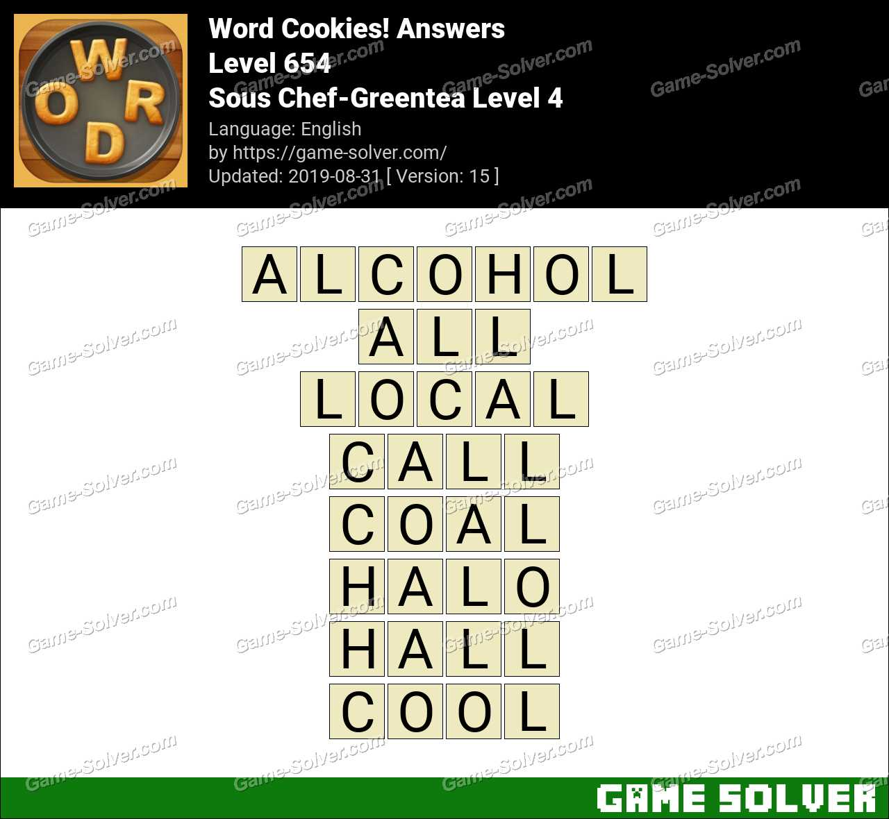 Word Cookies Sous Chef-Greentea Level 4 Answers