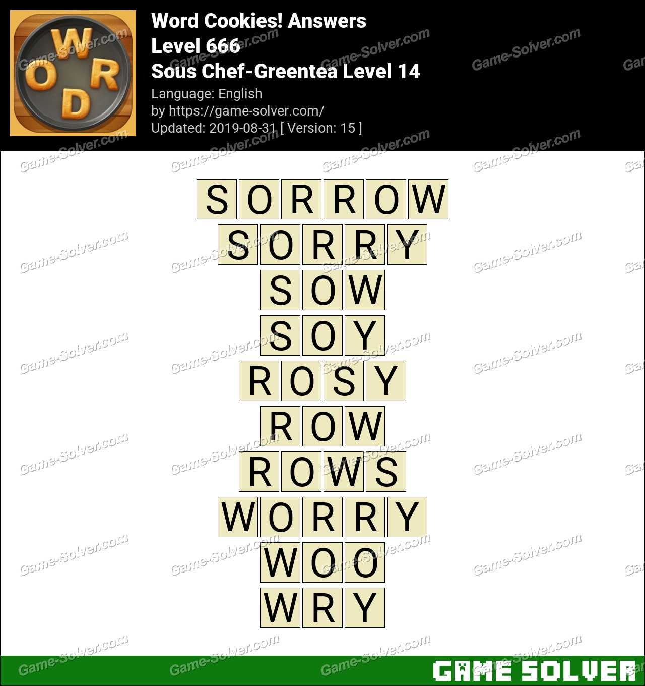 Word Cookies Sous Chef-Greentea Level 14 Answers