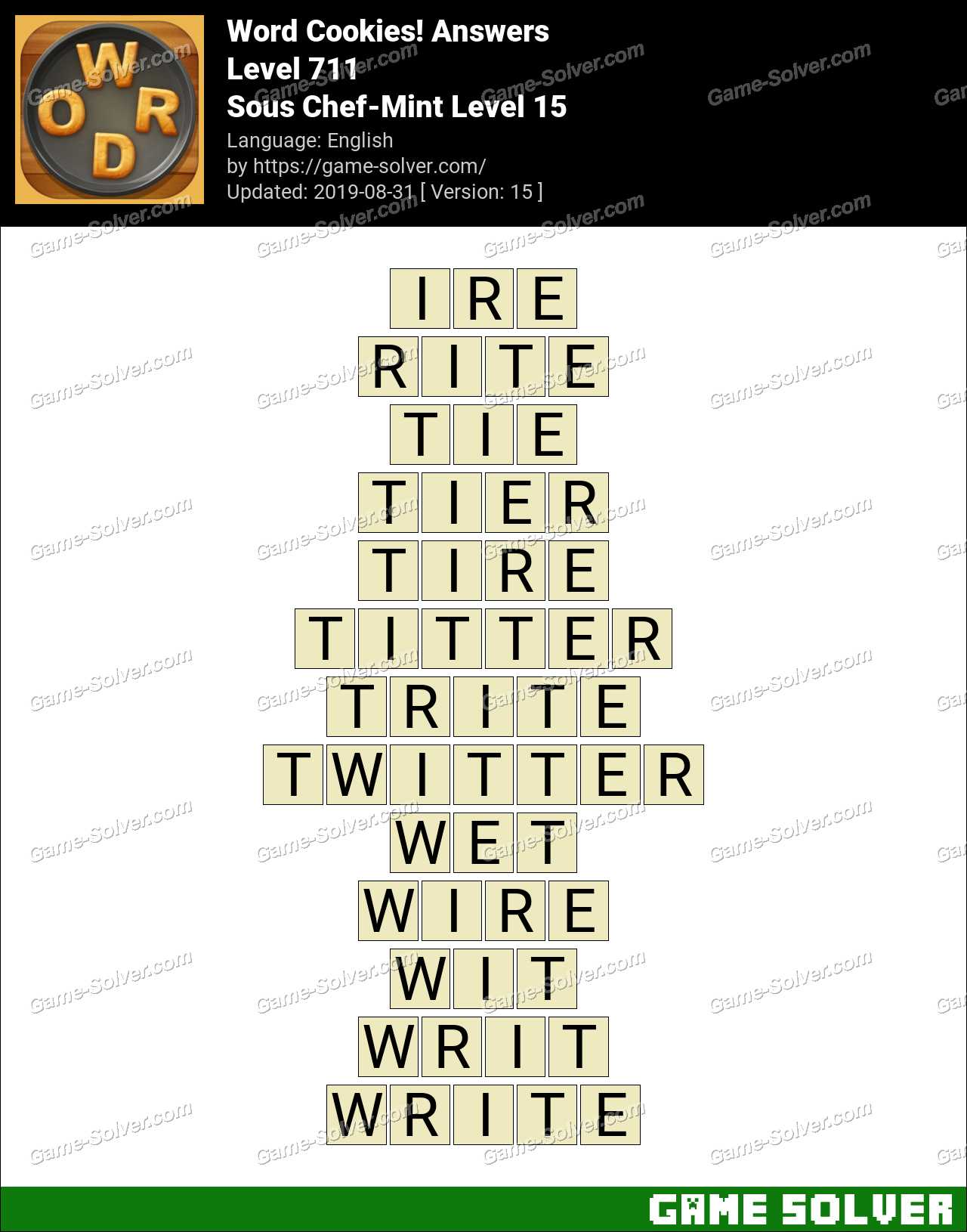 Word Cookies Sous Chef-Mint Level 15 Answers