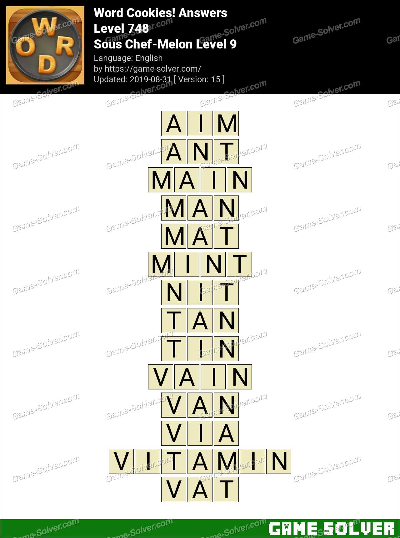 Word Cookies Sous Chef-Melon Level 9 Answers