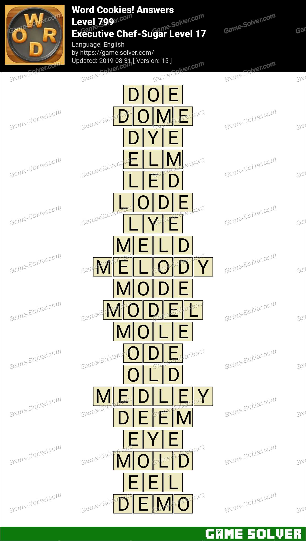 Word Cookies Executive Chef-Sugar Level 17 Answers