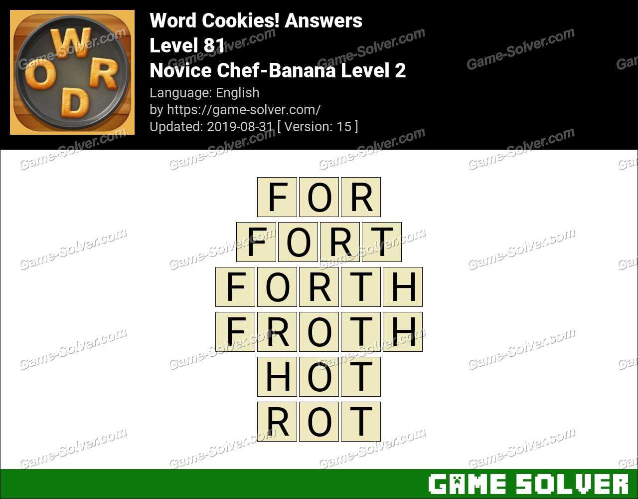 Word Cookies Novice Chef-Banana Level 2 Answers