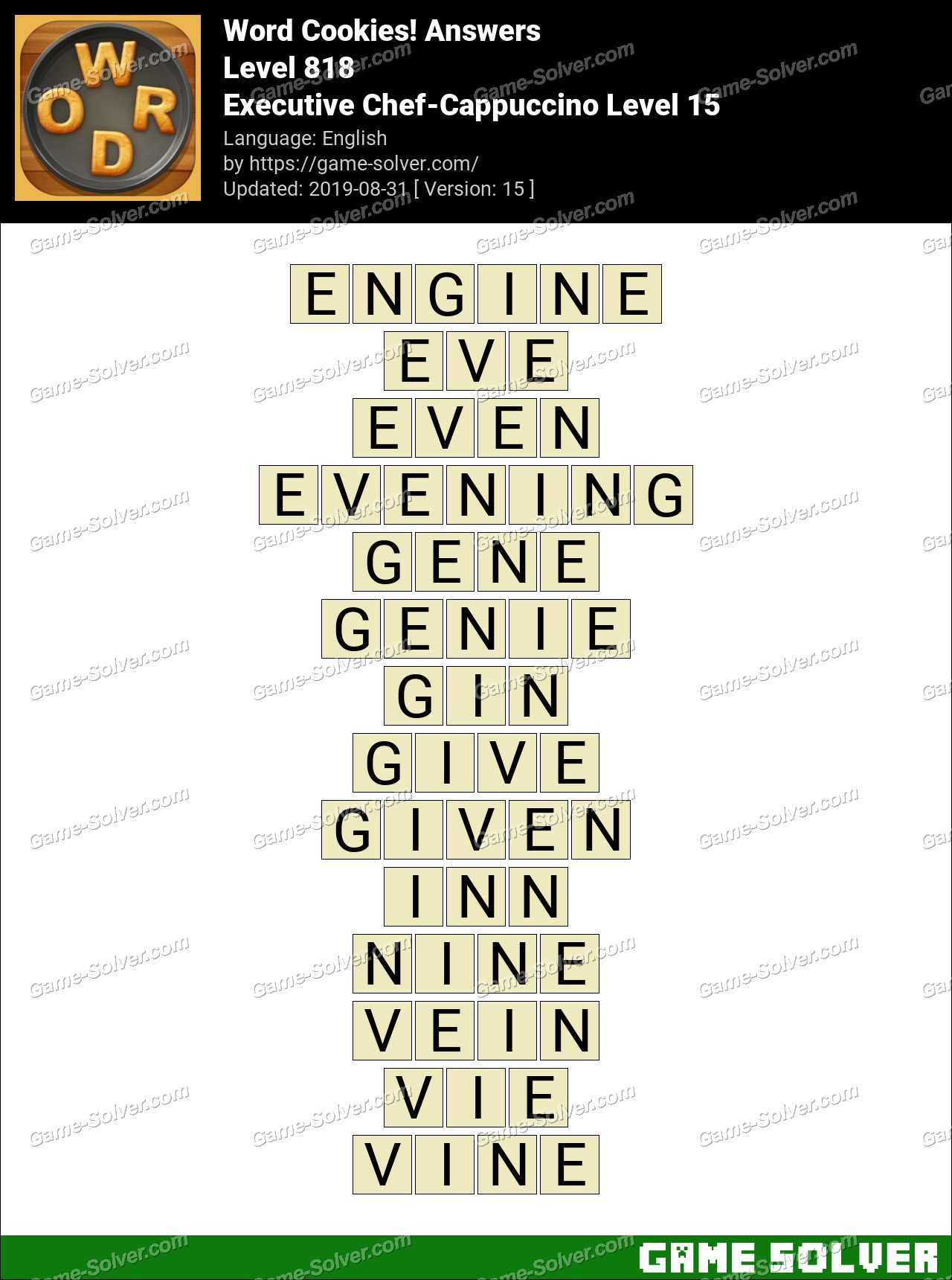 Word Cookies Executive Chef-Cappuccino Level 15 Answers