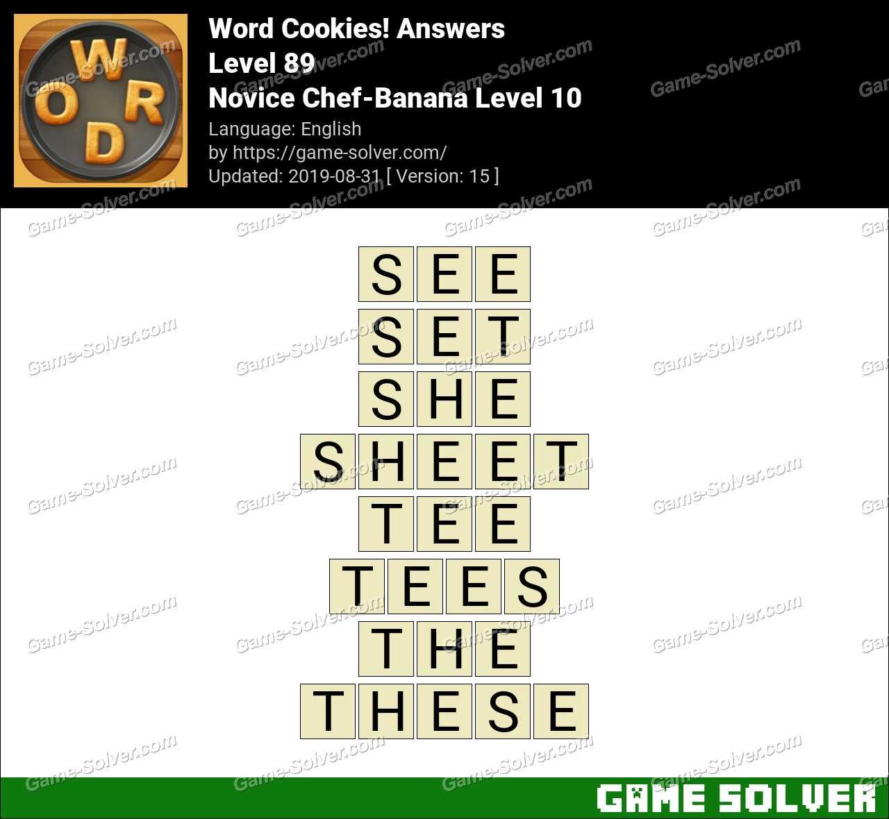 Word Cookies Novice Chef-Banana Level 10 Answers