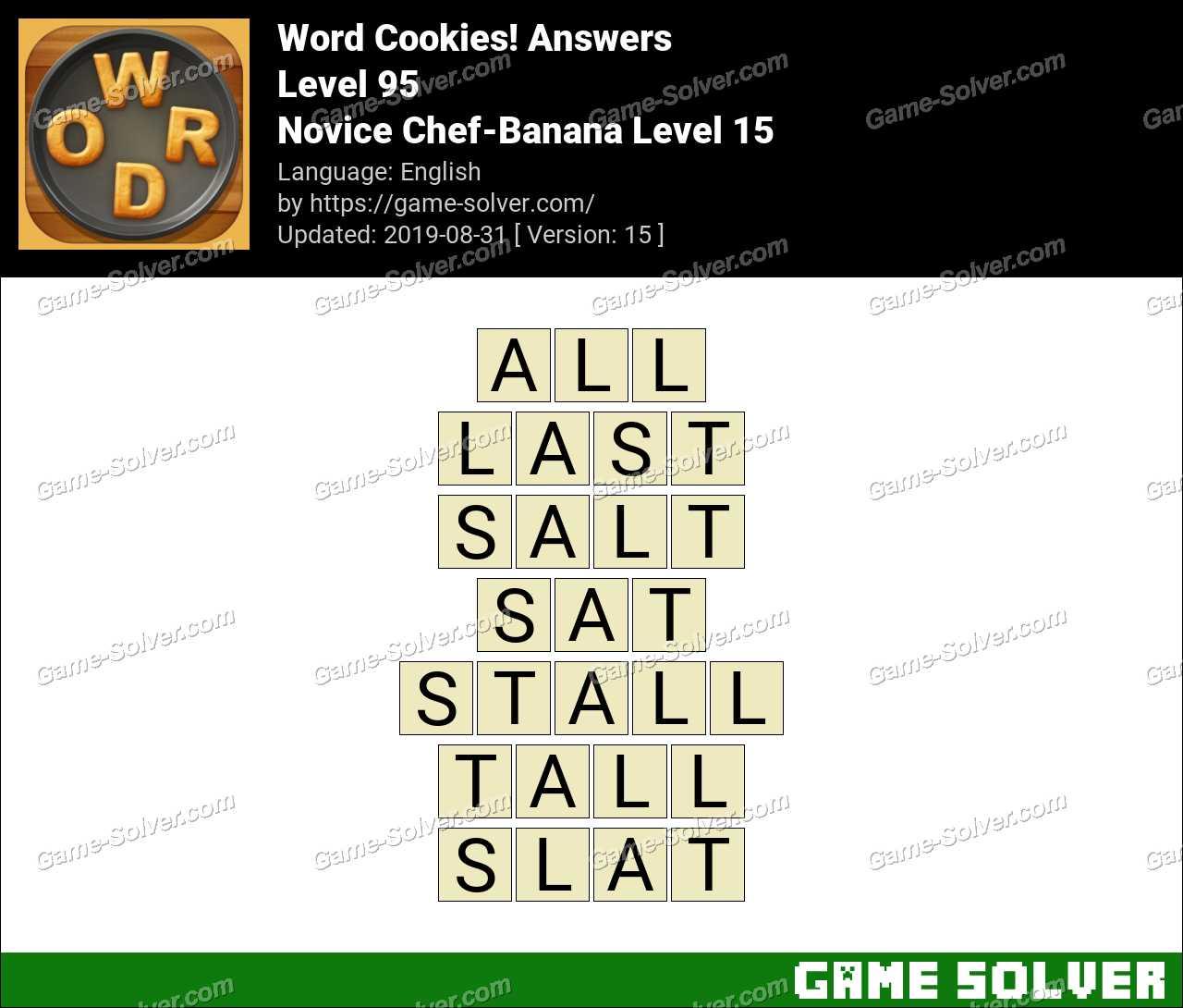 Word Cookies Novice Chef-Banana Level 15 Answers