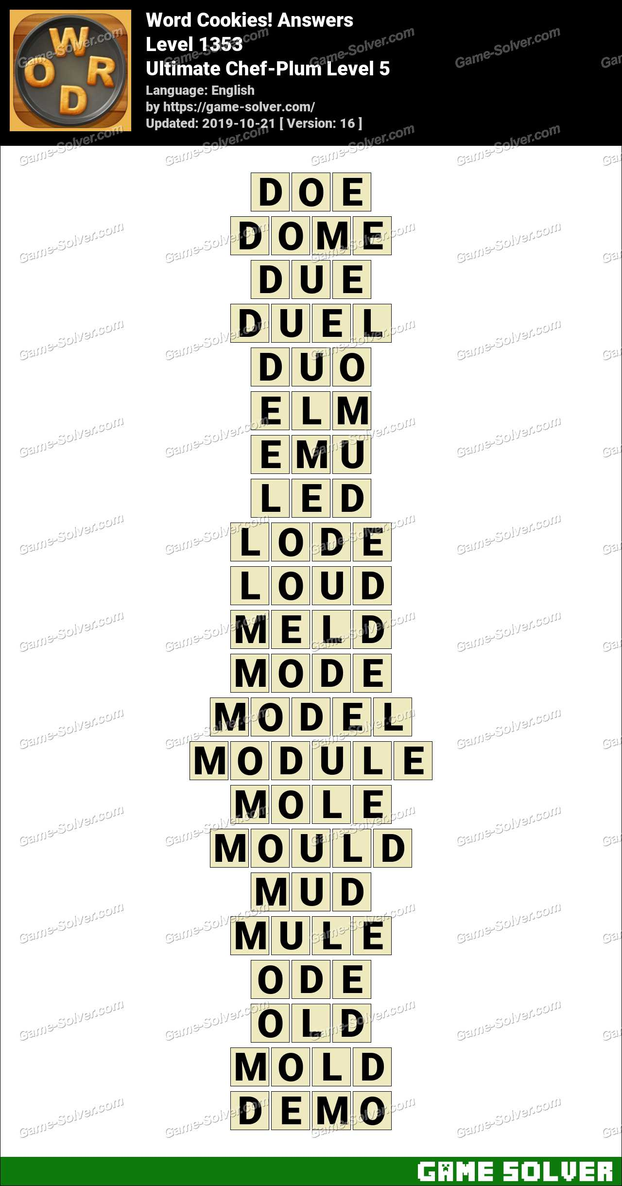 Word Cookies Ultimate Chef-Plum Level 5 Answers