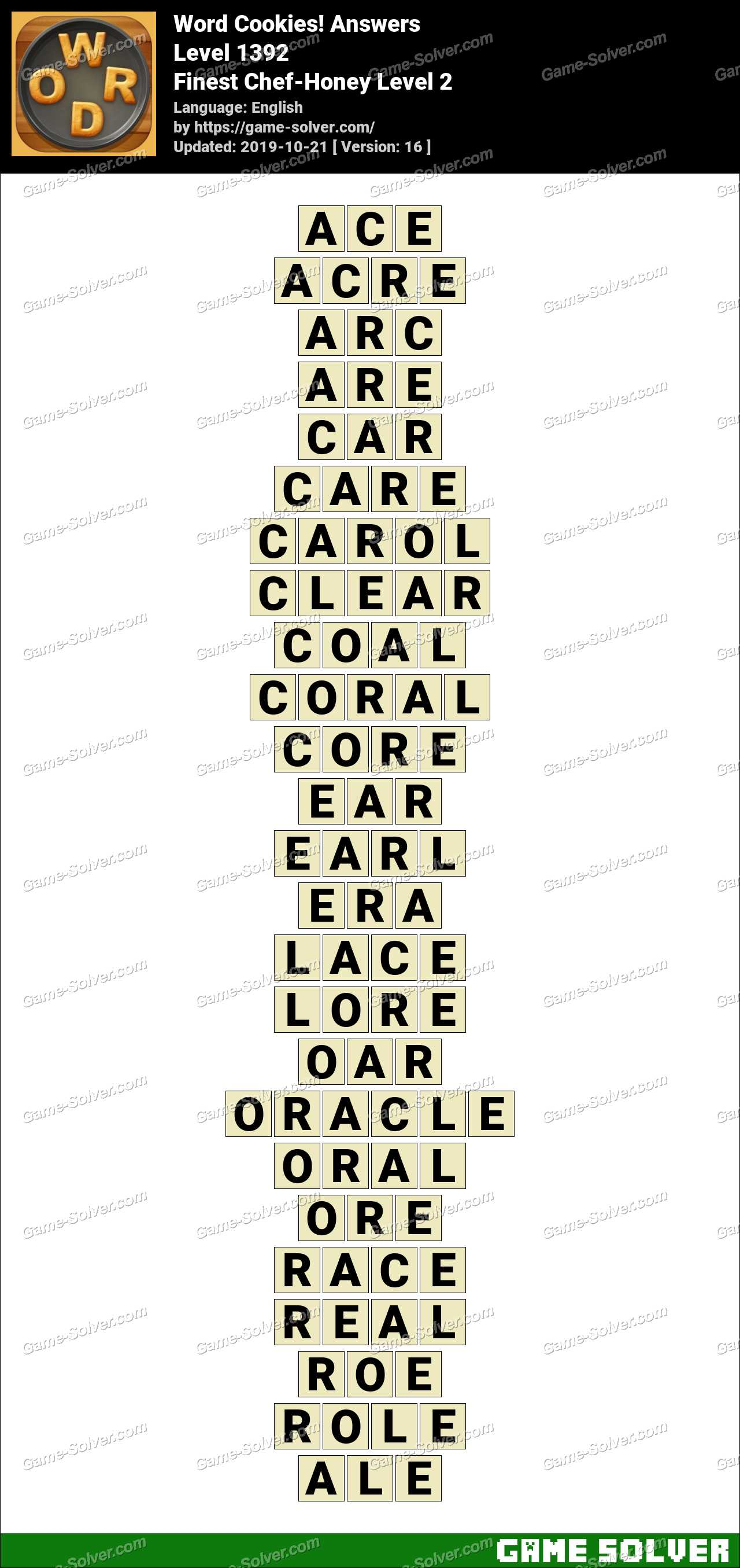 Word Cookies Finest Chef-Honey Level 2 Answers