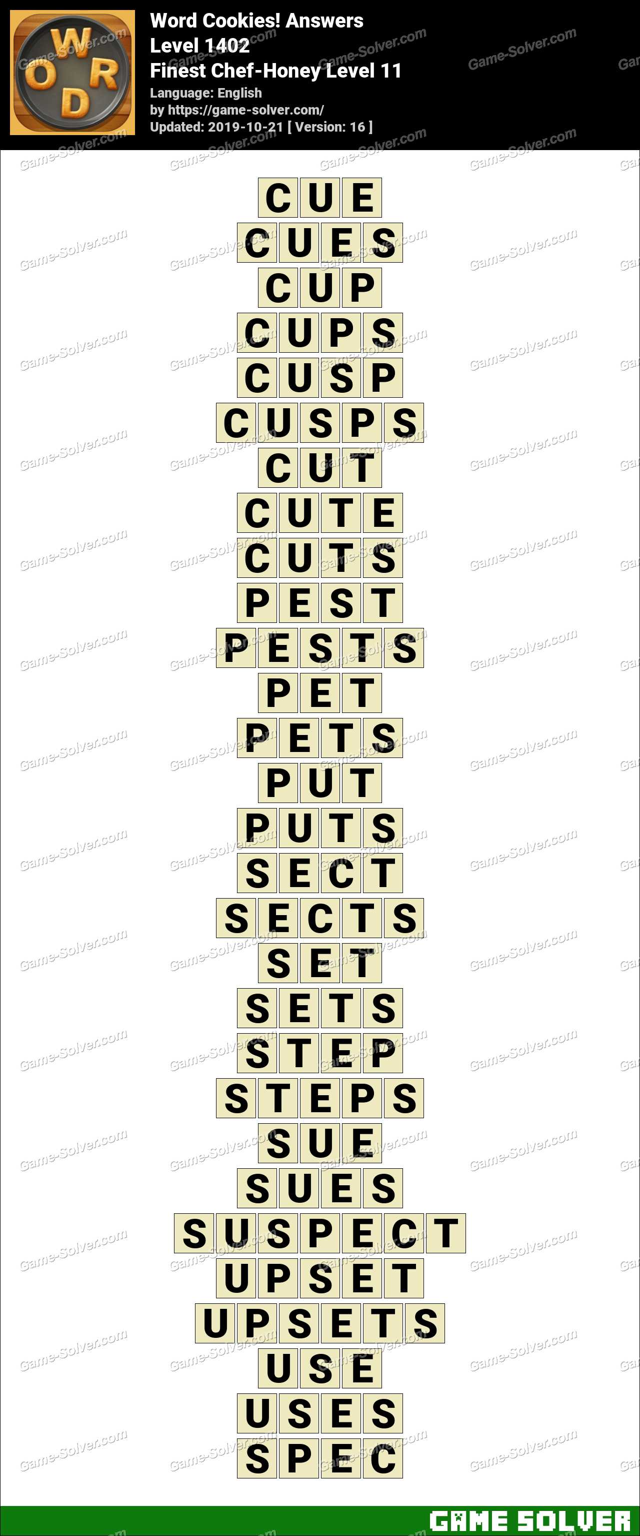 Word Cookies Finest Chef-Honey Level 11 Answers