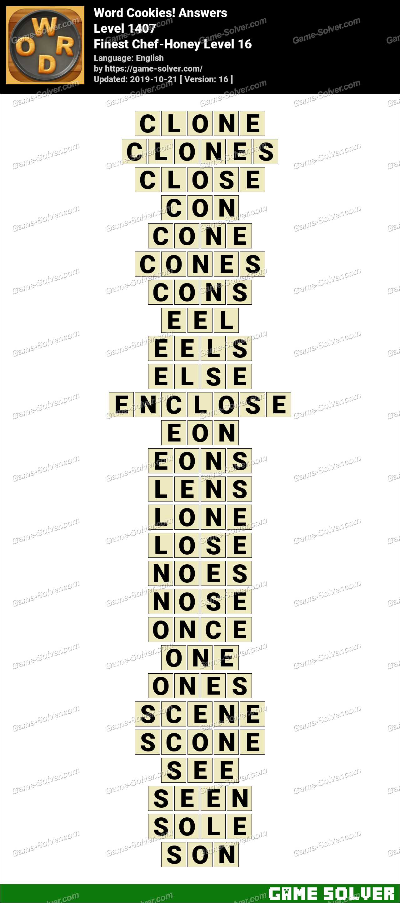 Word Cookies Finest Chef-Honey Level 16 Answers