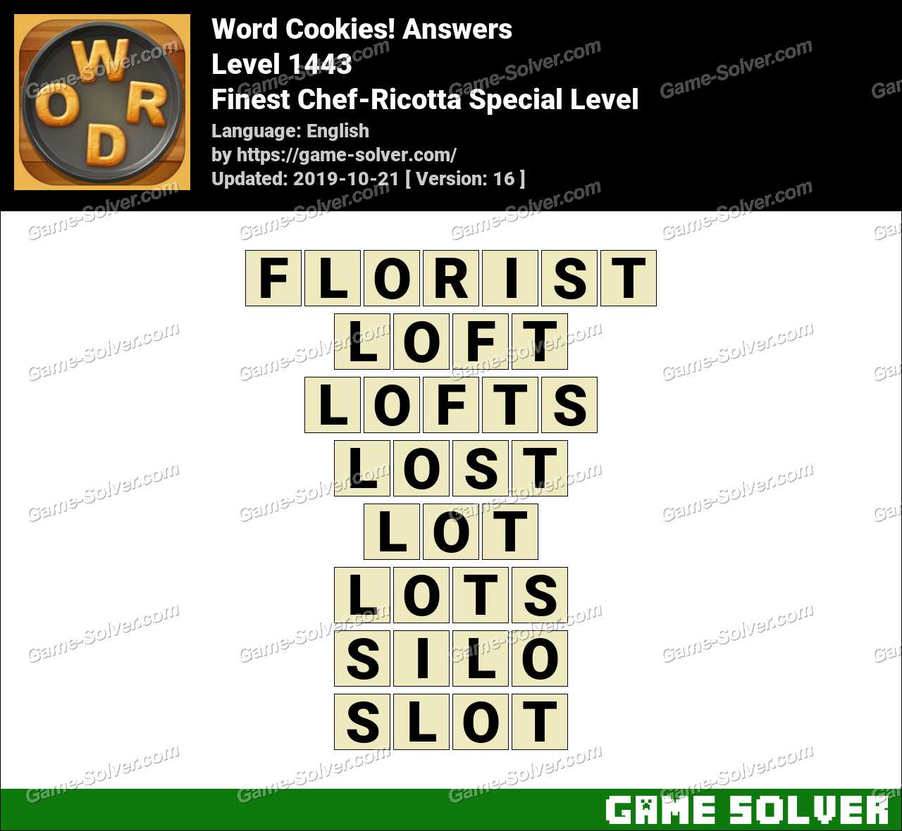 Word Cookies Finest Chef-Ricotta Special Level Answers
