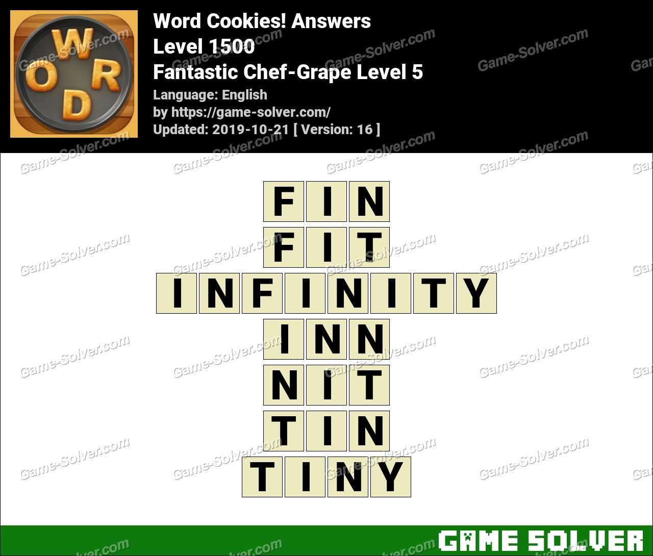 Word Cookies Fantastic Chef-Grape Level 5 Answers