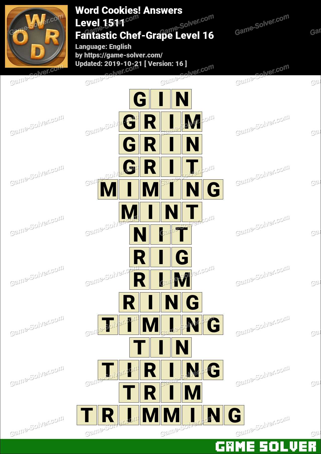 Word Cookies Fantastic Chef-Grape Level 16 Answers