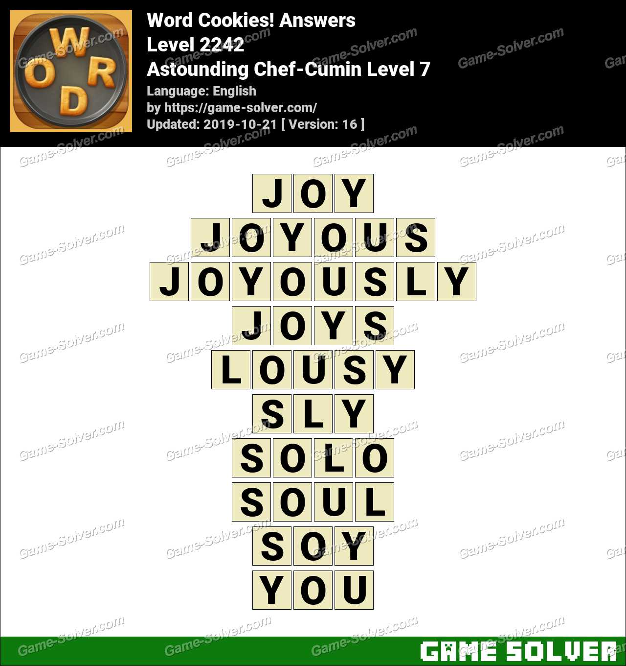 Word Cookies Astounding Chef-Cumin Level 7 Answers