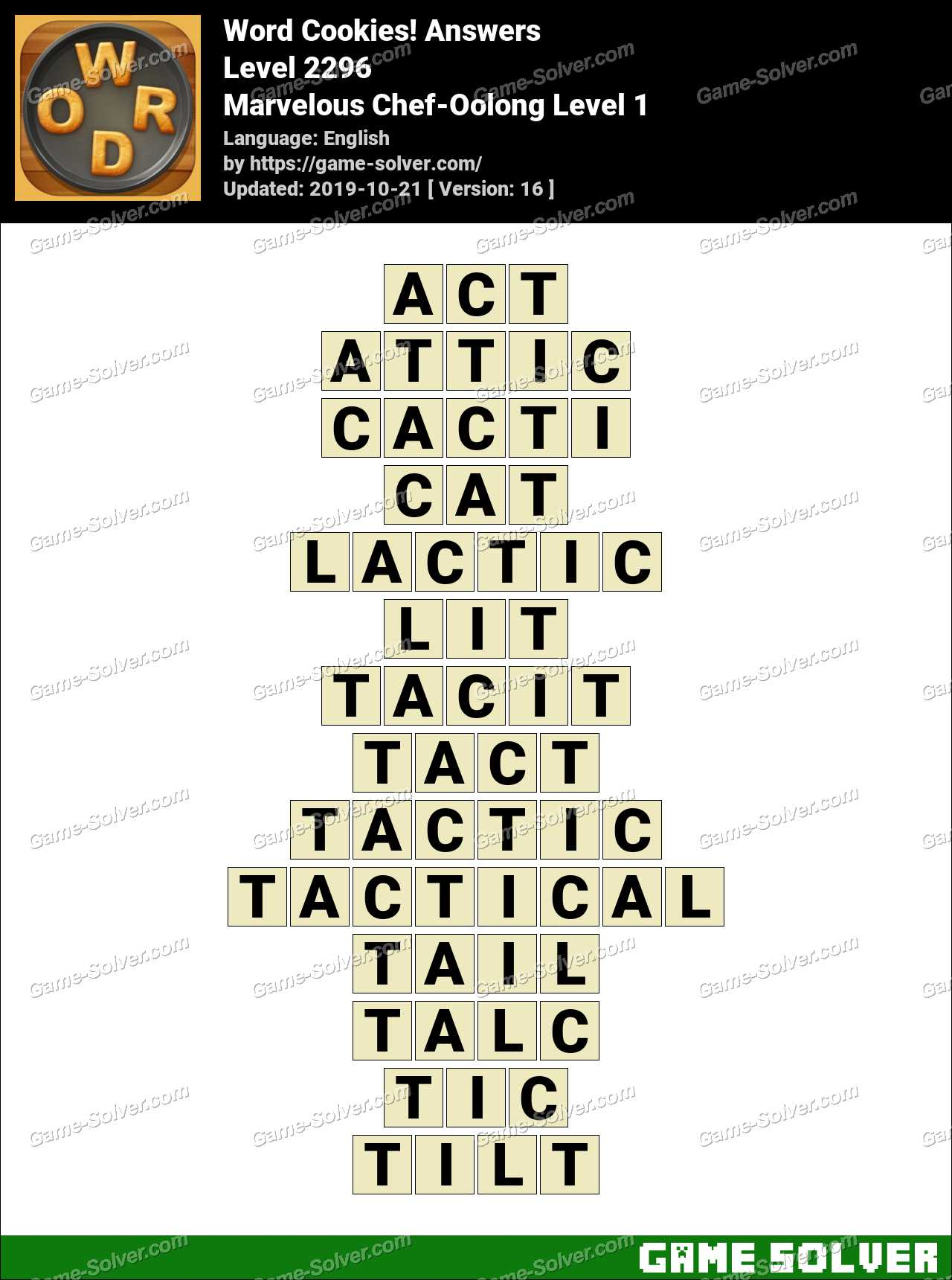 Word Cookies Marvelous Chef-Oolong Level 1 Answers
