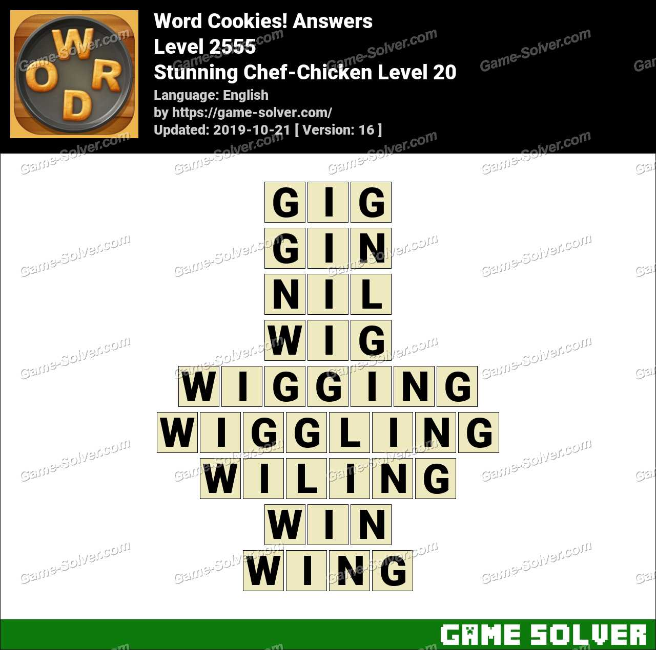 Word Cookies Stunning Chef-Chicken Level 20 Answers