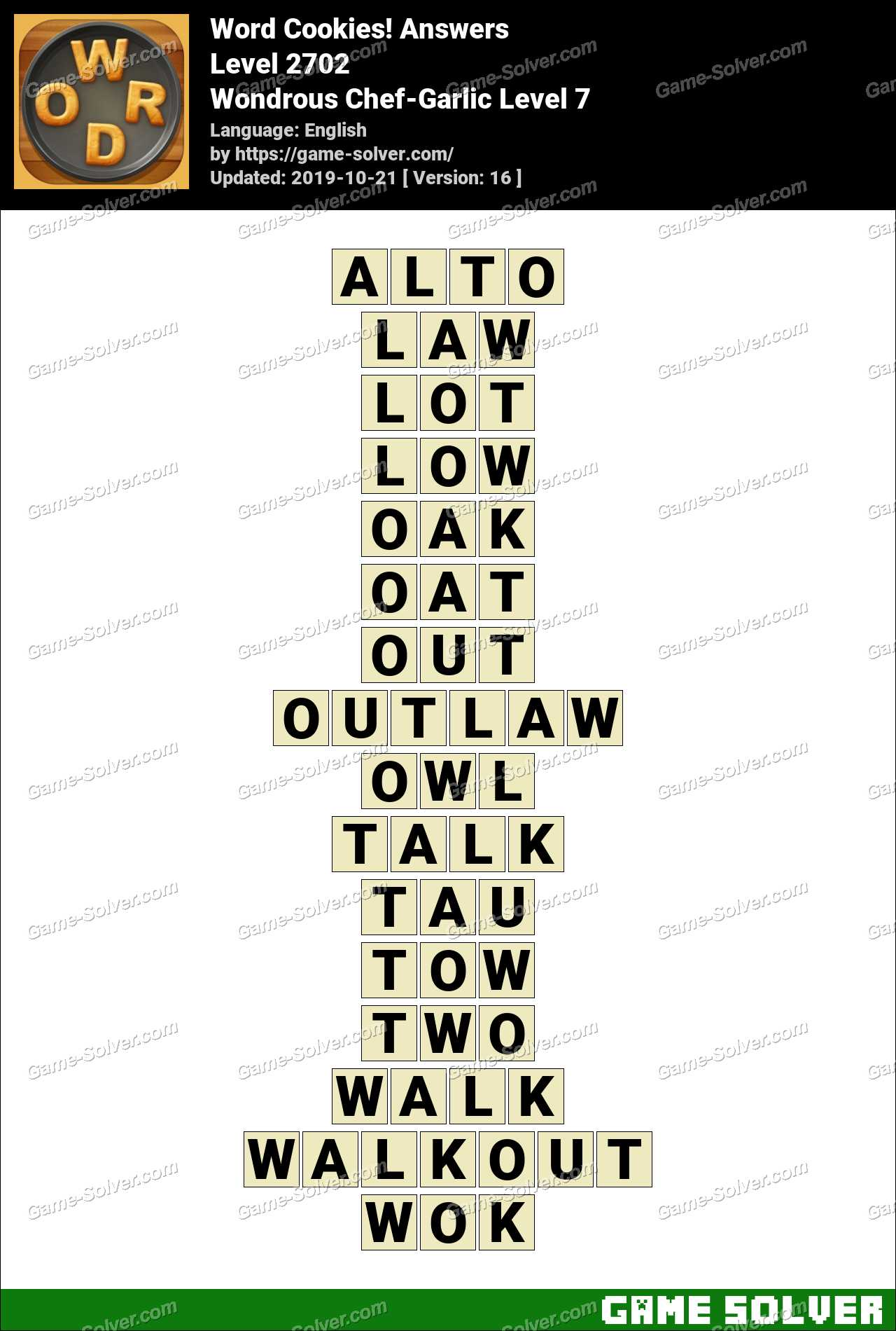 Word Cookies Wondrous Chef-Garlic Level 7 Answers
