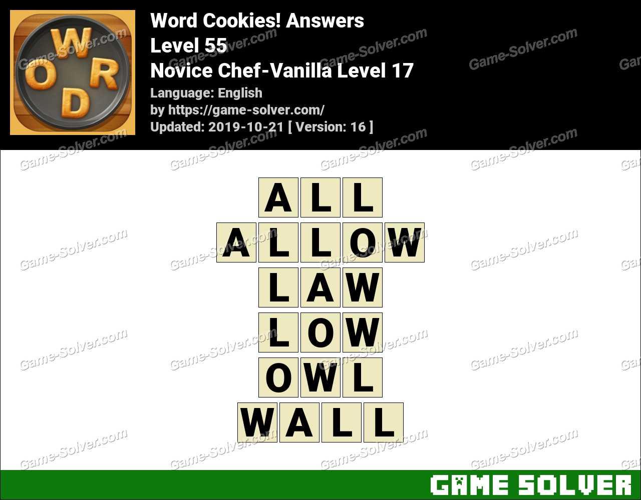 Word Cookies Novice Chef-Vanilla Level 17 Answers