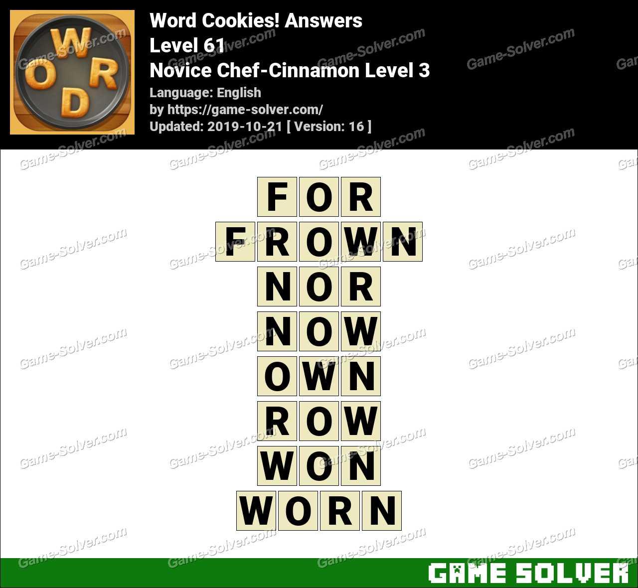 Word Cookies Novice Chef-Cinnamon Level 3 Answers