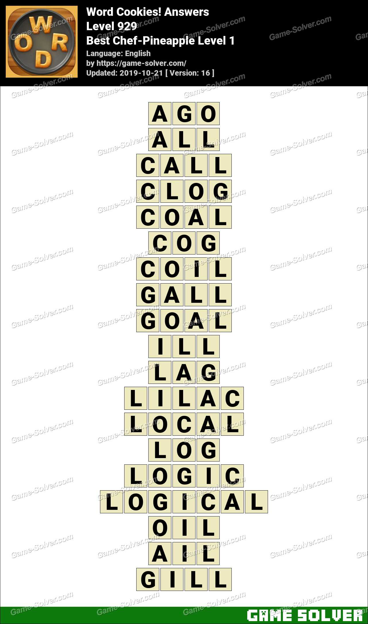 Word Cookies Best Chef-Pineapple Level 1 Answers