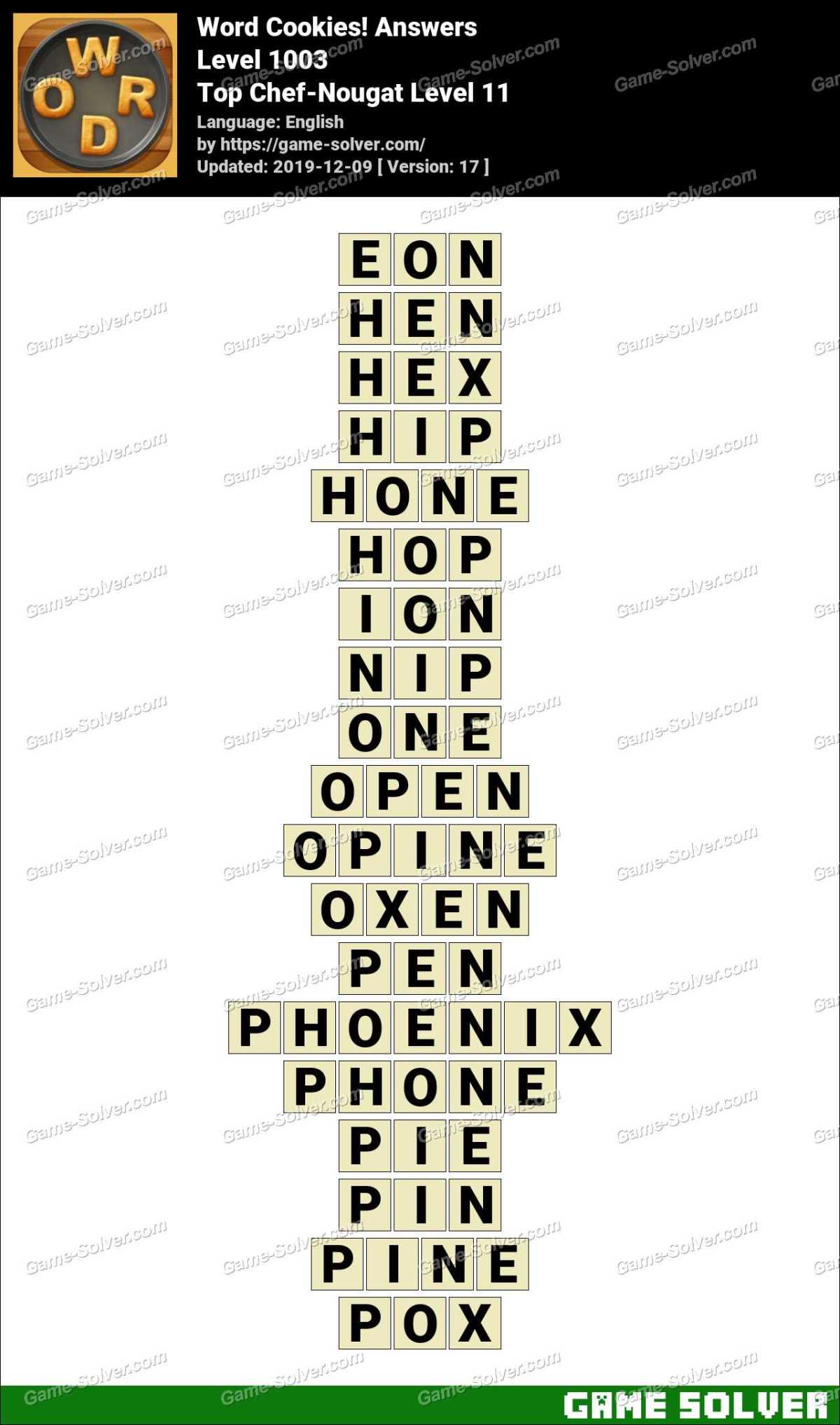 Word Cookies Top Chef-Nougat Level 11 Answers