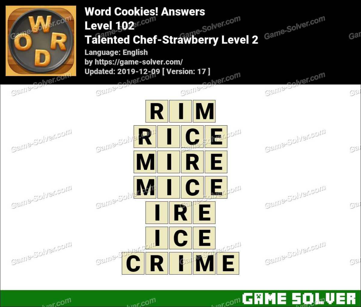 Word Cookies Talented Chef-Strawberry Level 2 Answers