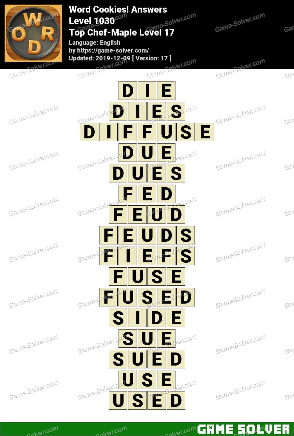 Word Cookies Top Chef-Maple Level 17 Answers