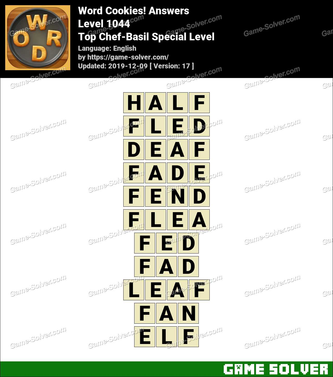 Word Cookies Top Chef-Basil Special Level Answers