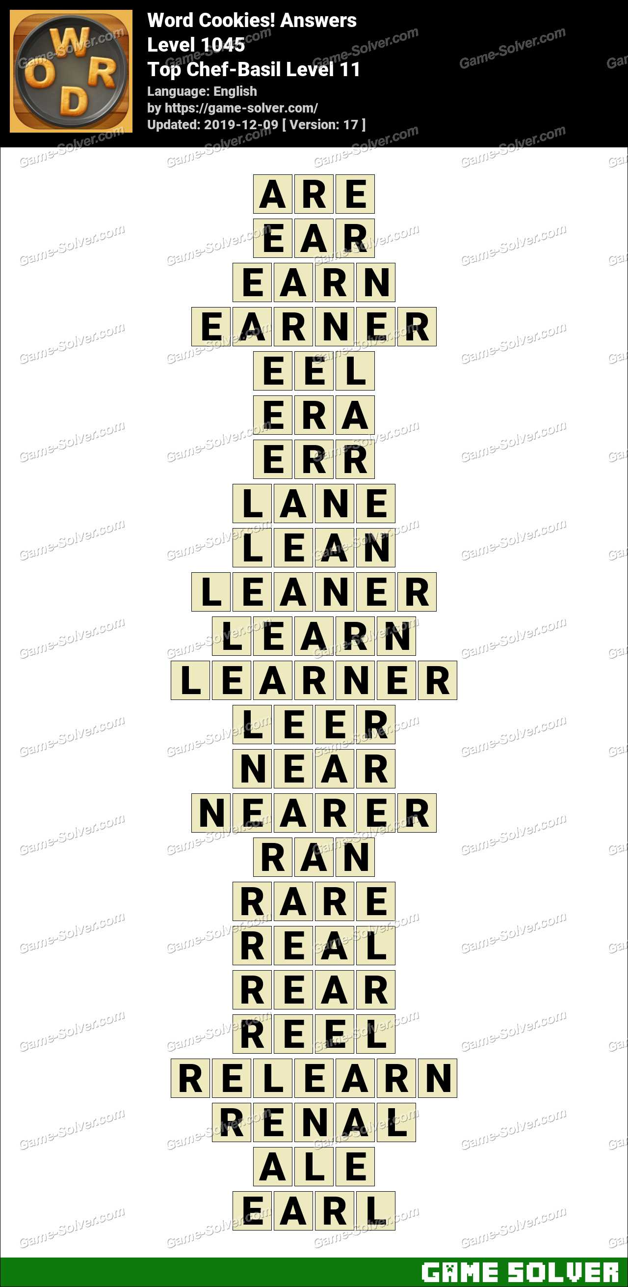Word Cookies Top Chef-Basil Level 11 Answers