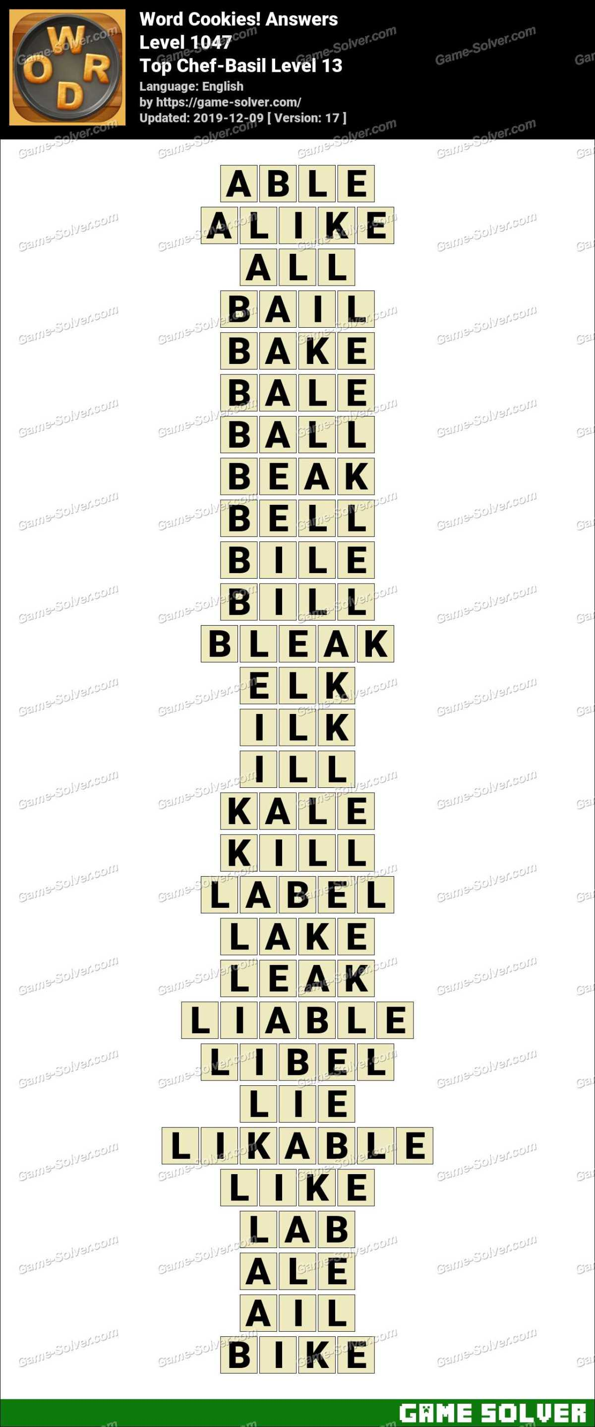 Word Cookies Top Chef-Basil Level 13 Answers