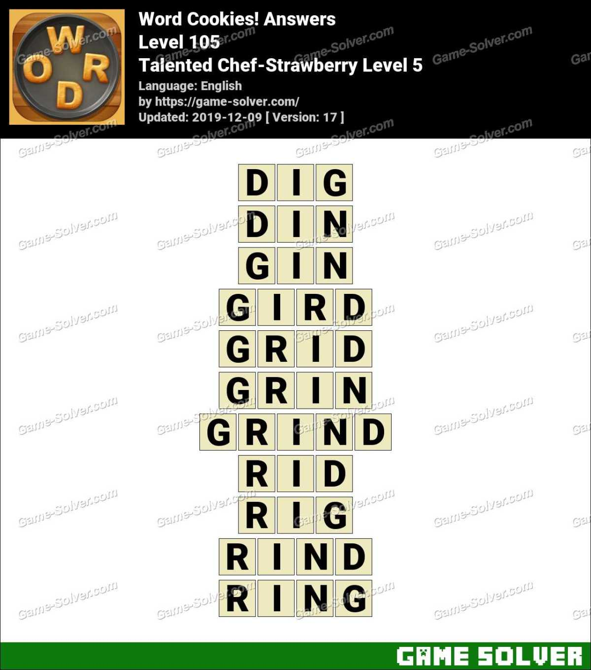 Word Cookies Talented Chef-Strawberry Level 5 Answers