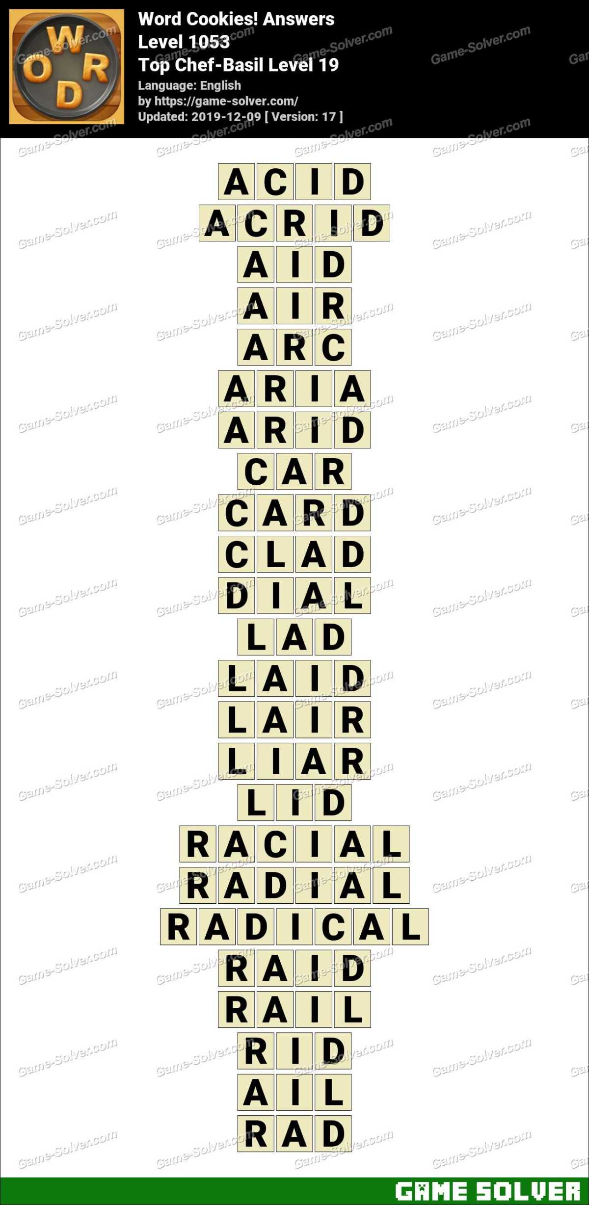 Word Cookies Top Chef-Basil Level 19 Answers
