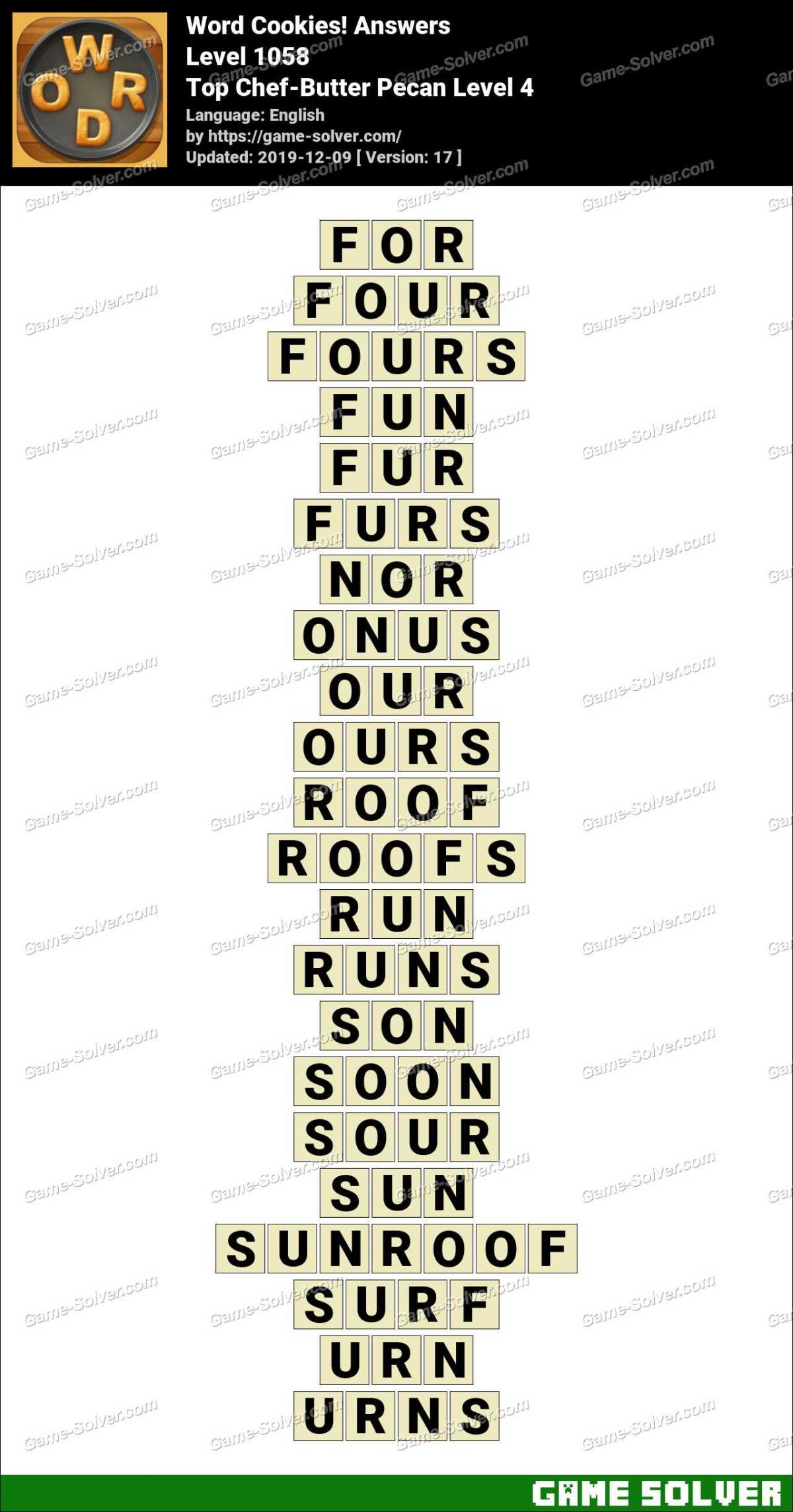 Word Cookies Top Chef-Butter Pecan Level 4 Answers