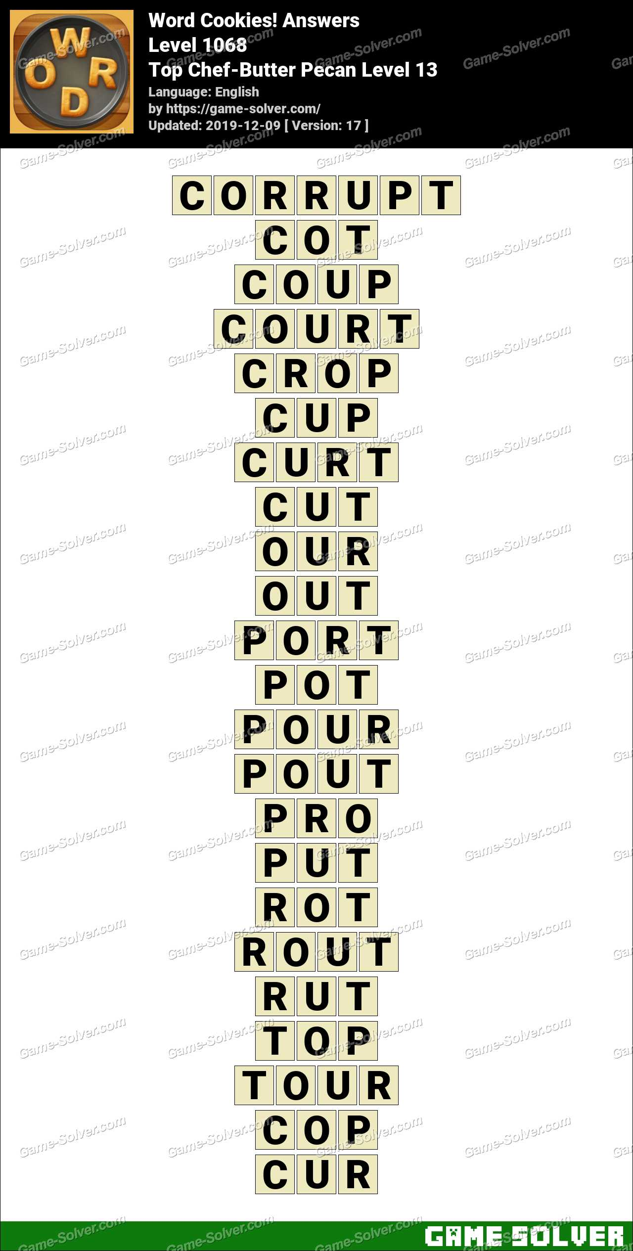 Word Cookies Top Chef-Butter Pecan Level 13 Answers