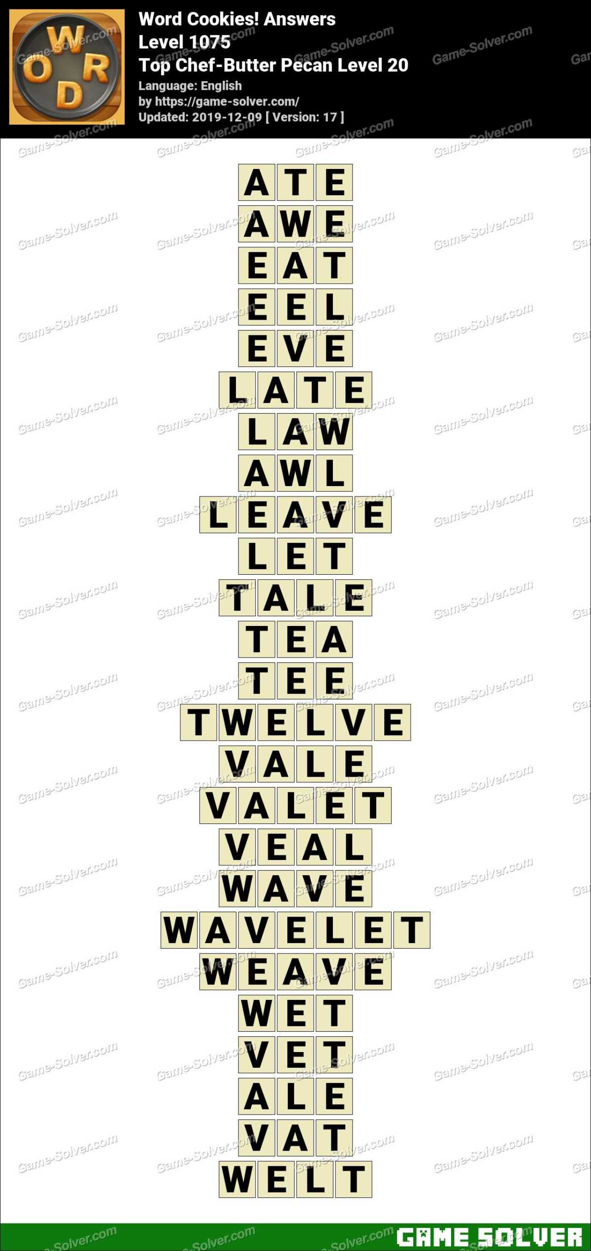 Word Cookies Top Chef-Butter Pecan Level 20 Answers
