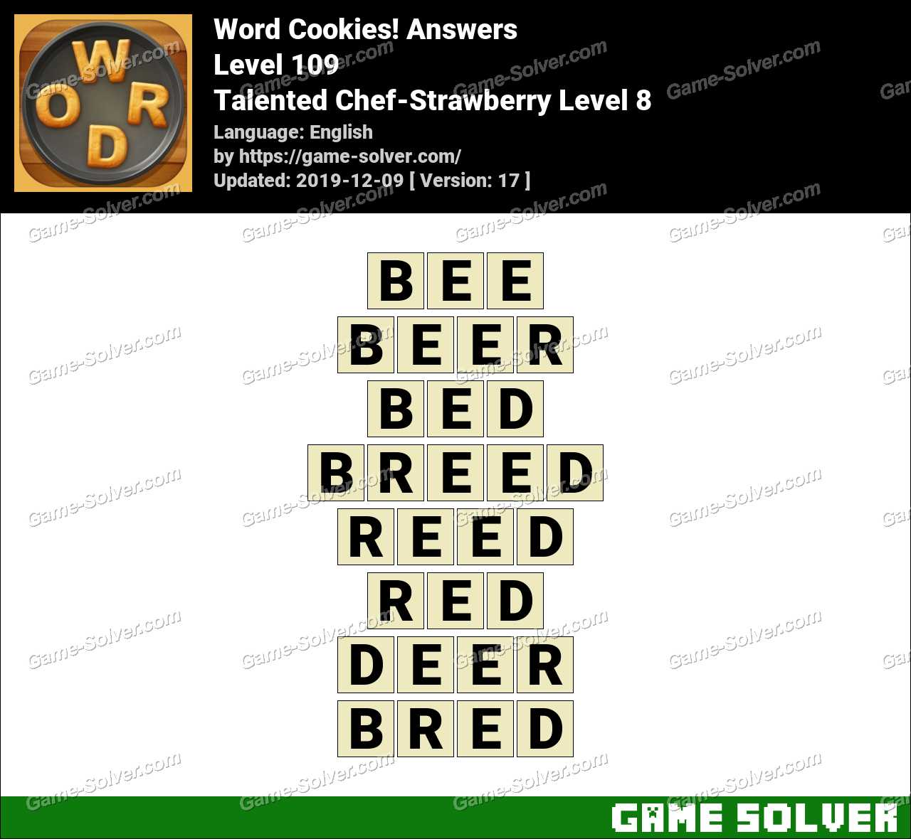 Word Cookies Talented Chef-Strawberry Level 8 Answers