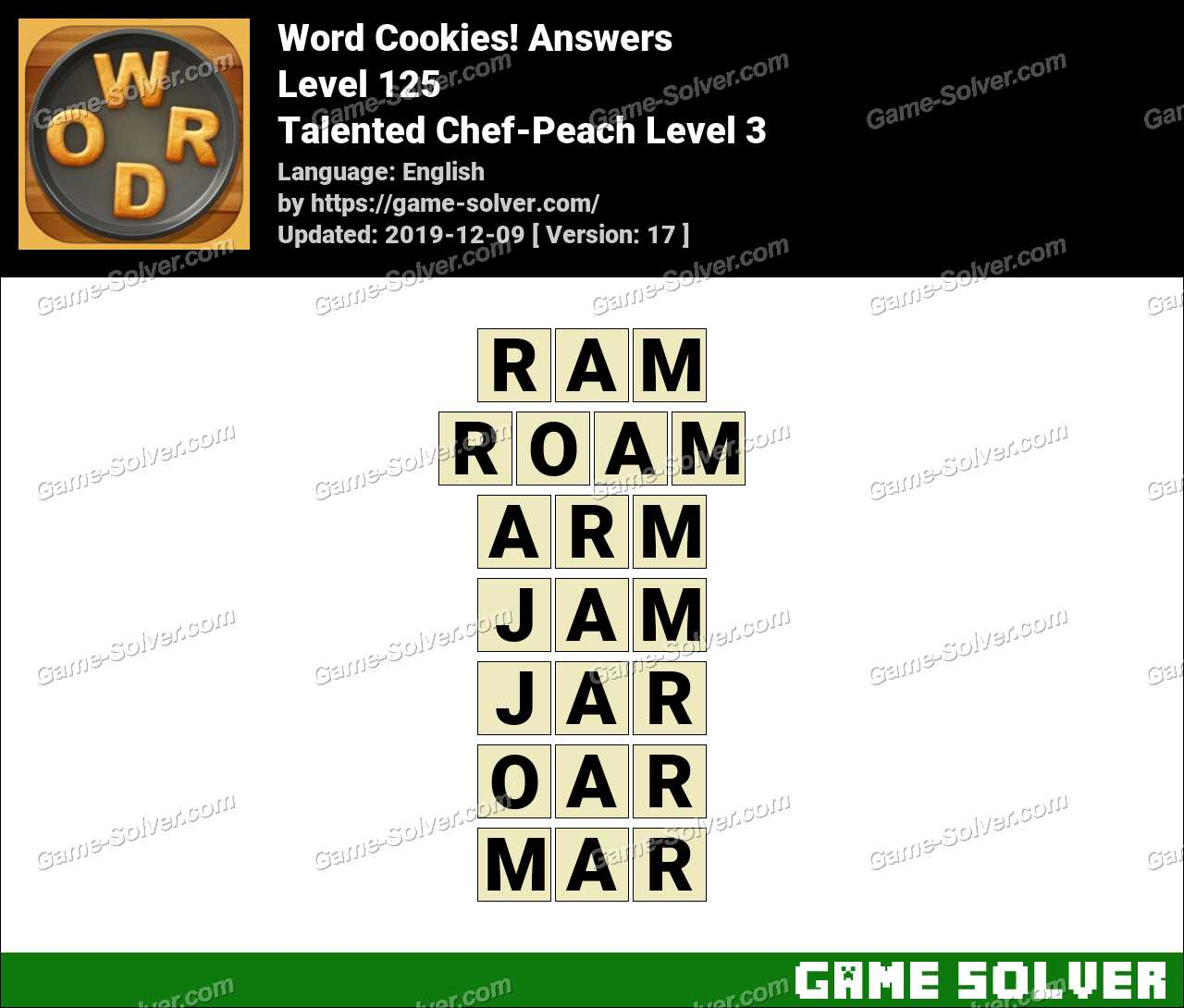 Word Cookies Talented Chef-Peach Level 3 Answers