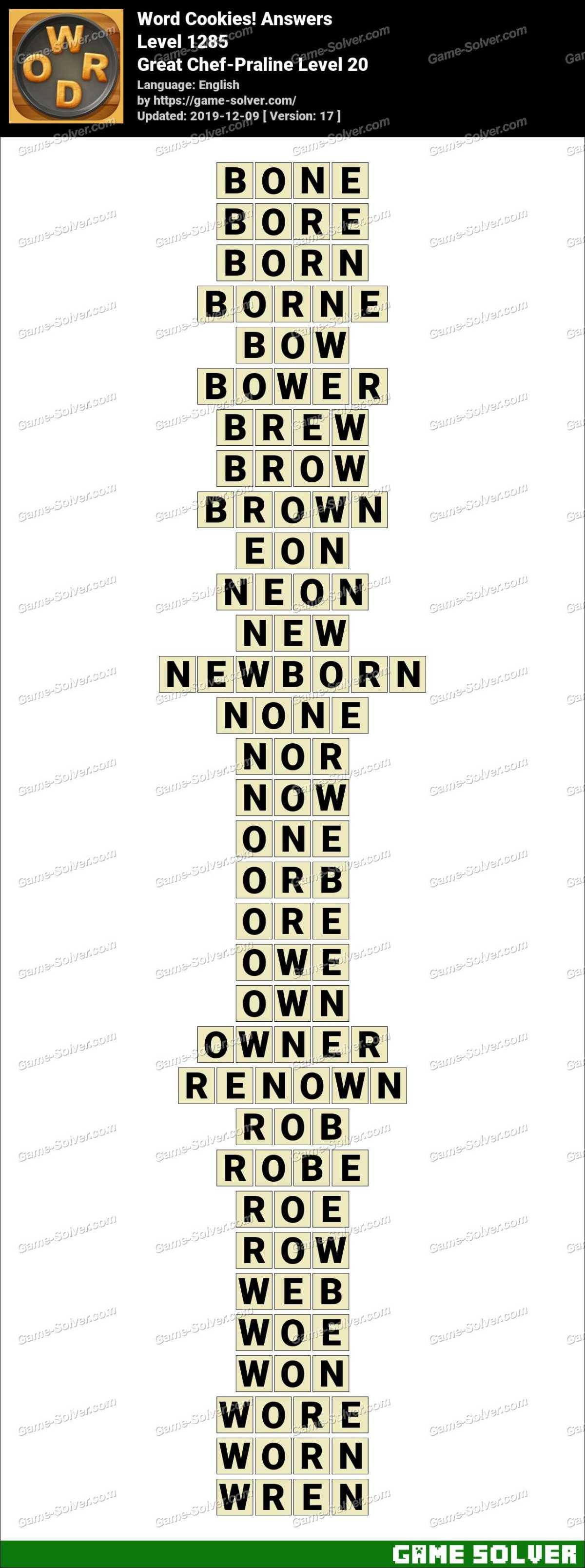 Word Cookies Great Chef-Praline Level 20 Answers