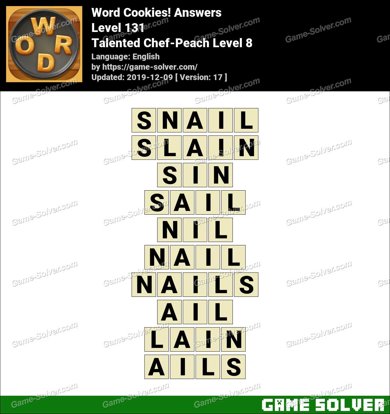 Word Cookies Talented Chef-Peach Level 8 Answers