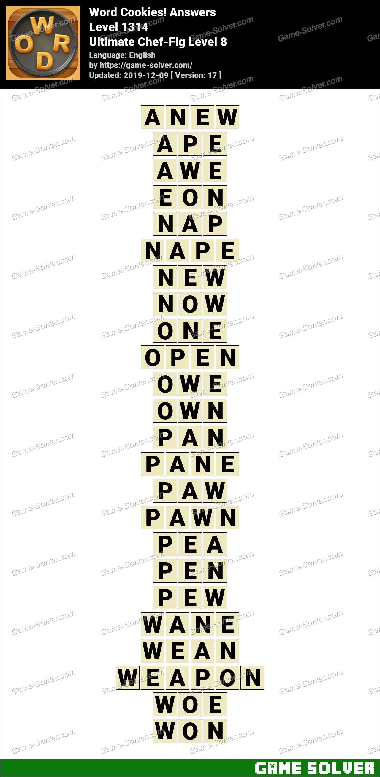 Word Cookies Ultimate Chef-Fig Level 8 Answers