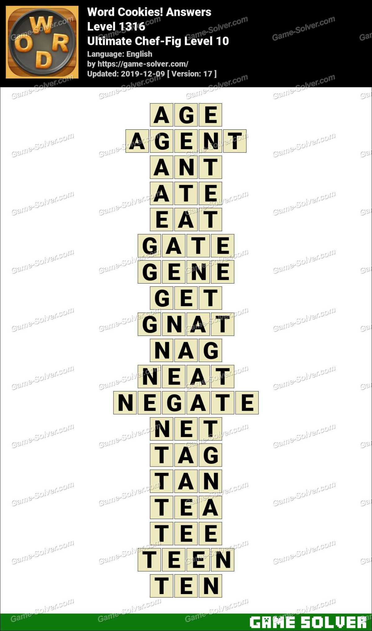 Word Cookies Ultimate Chef-Fig Level 10 Answers