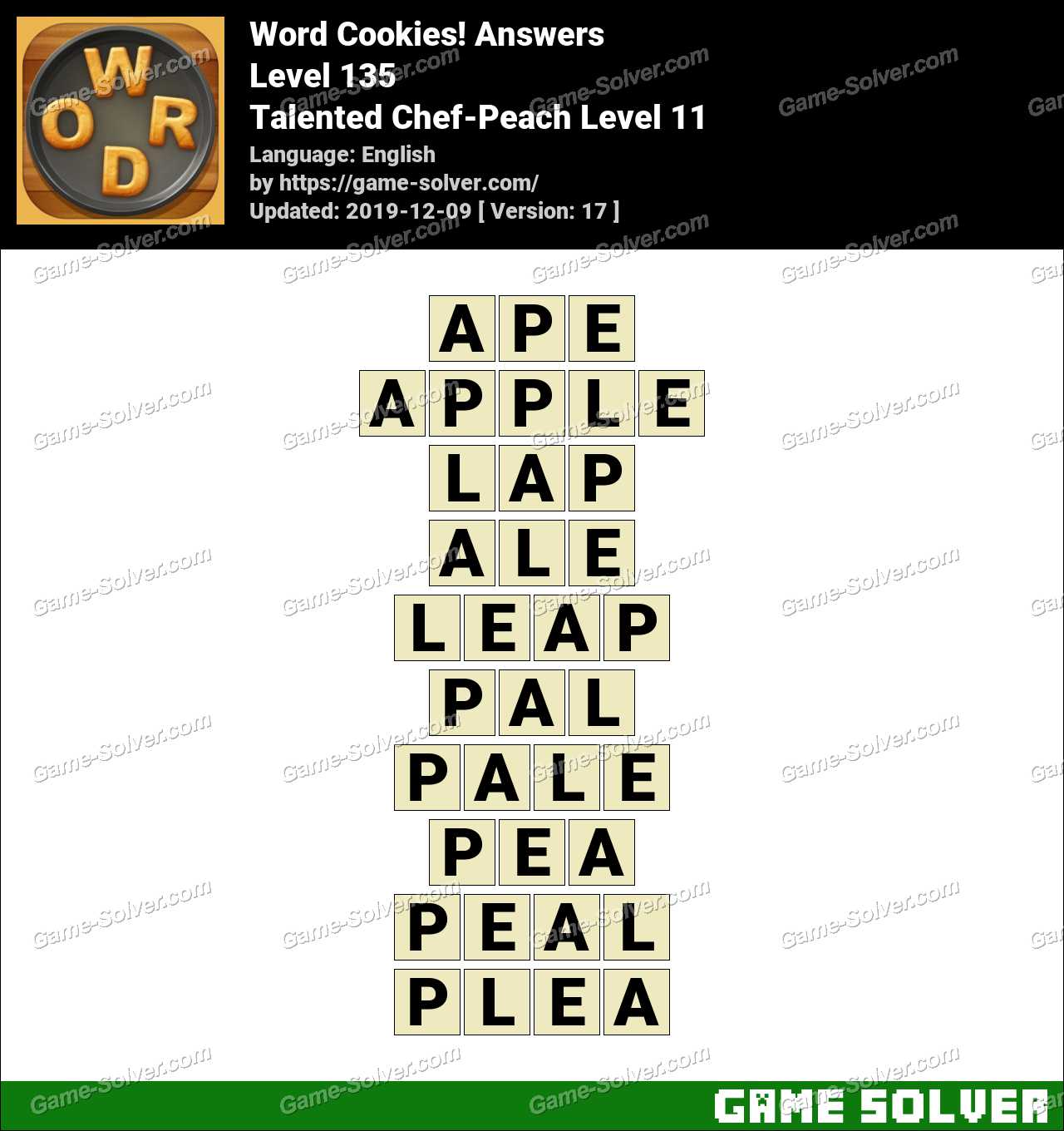 Word Cookies Talented Chef-Peach Level 11 Answers